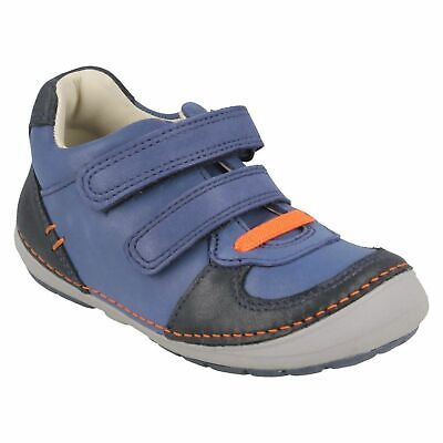 BOYS CLARKS SOFTLY LEE HOOK /& LOOP TODDLER WALKING TRAINERS CASUAL SHOES SIZE