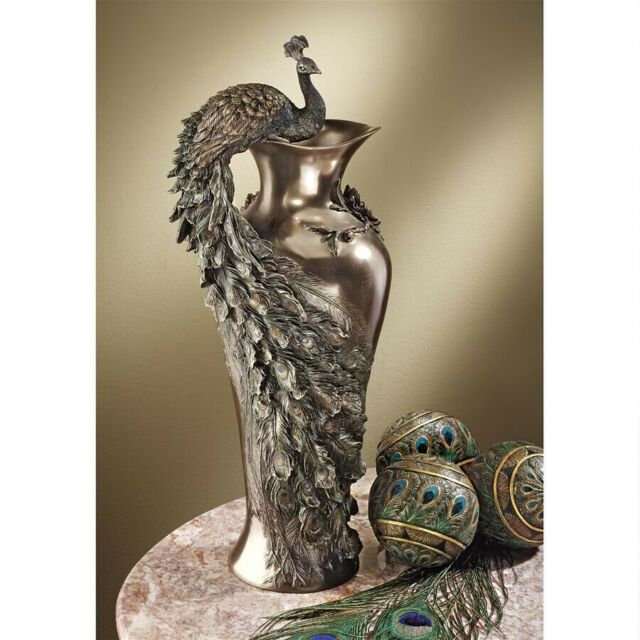 Peacock Centerpiece Design Toscano 360 Degree Sculptural Vase Rich Bronze Finish