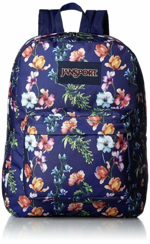 JANSPORT Big Student Backpack Bookbag Mountain Meadow Navy Floral NEW