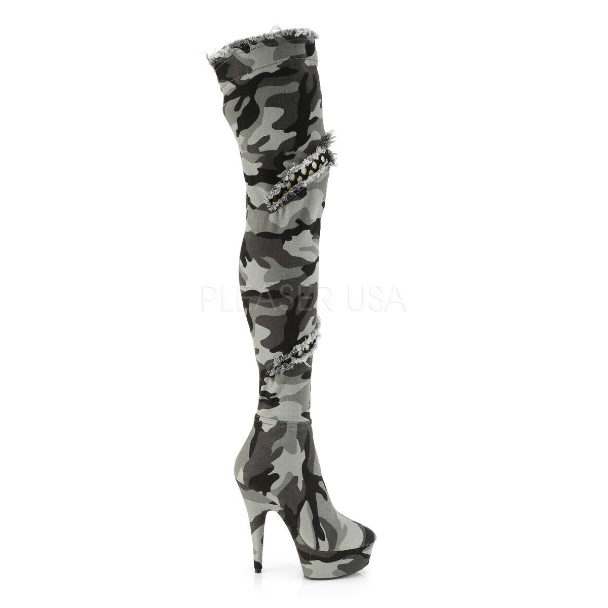 Camo Distressed Stretch Thigh High bottes 6  High Heel 6 - 14 Delight 3005
