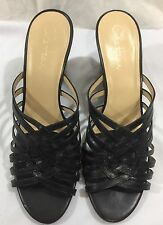 WOMENS COLE HAAN NIKE AIR BLACK LEATHER Wedge SANDALS Size 9 Medium