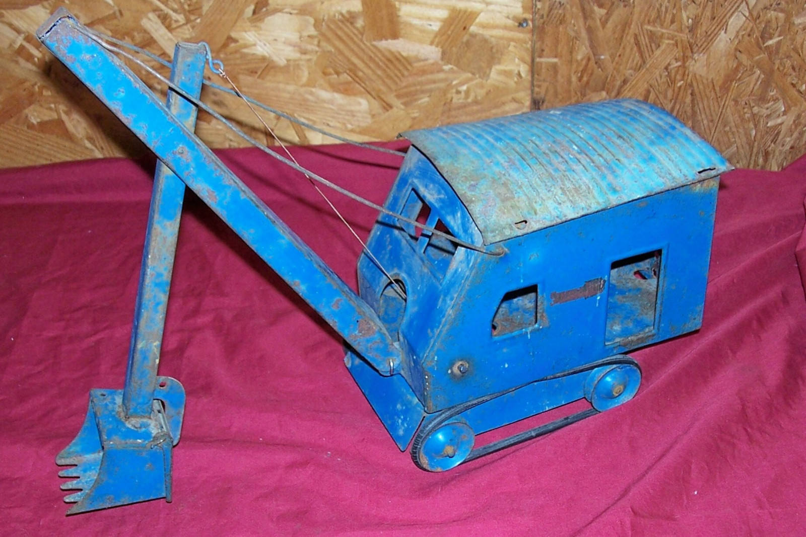 Antique Structo Toys Steam Shovel Excavator Digging Old Tin Pressed Metal Toy