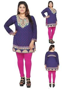 UK-STOCK-PLUS-SIZE-Women-Indian-Kurta-Kurti-Tunic-Shirt-Dress-EPLUS112C