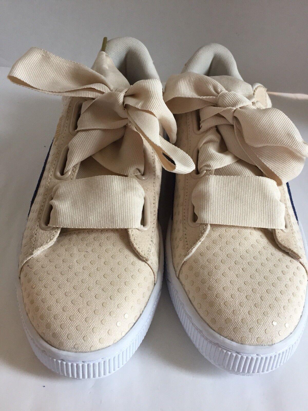 Le scarpe da ginnastica nuove puma moda raso lace a pois blu scamosciato marrone 11 accento