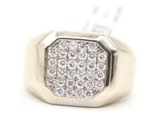 VINTAGE MEN`S 14K WHITE GOLD DIAMOND RING WITH ROUND DIAMONDS .SIZE 5