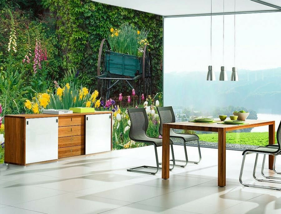 3D Trolley Garden 562 Wall Paper Wall Print Decal Wall Deco Indoor Mural Sunmer