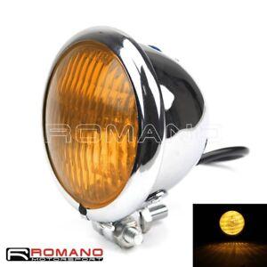 Chrome Motorcycle 4 Headlight Yellow Light Lamp For Harley Bobber Chopper
