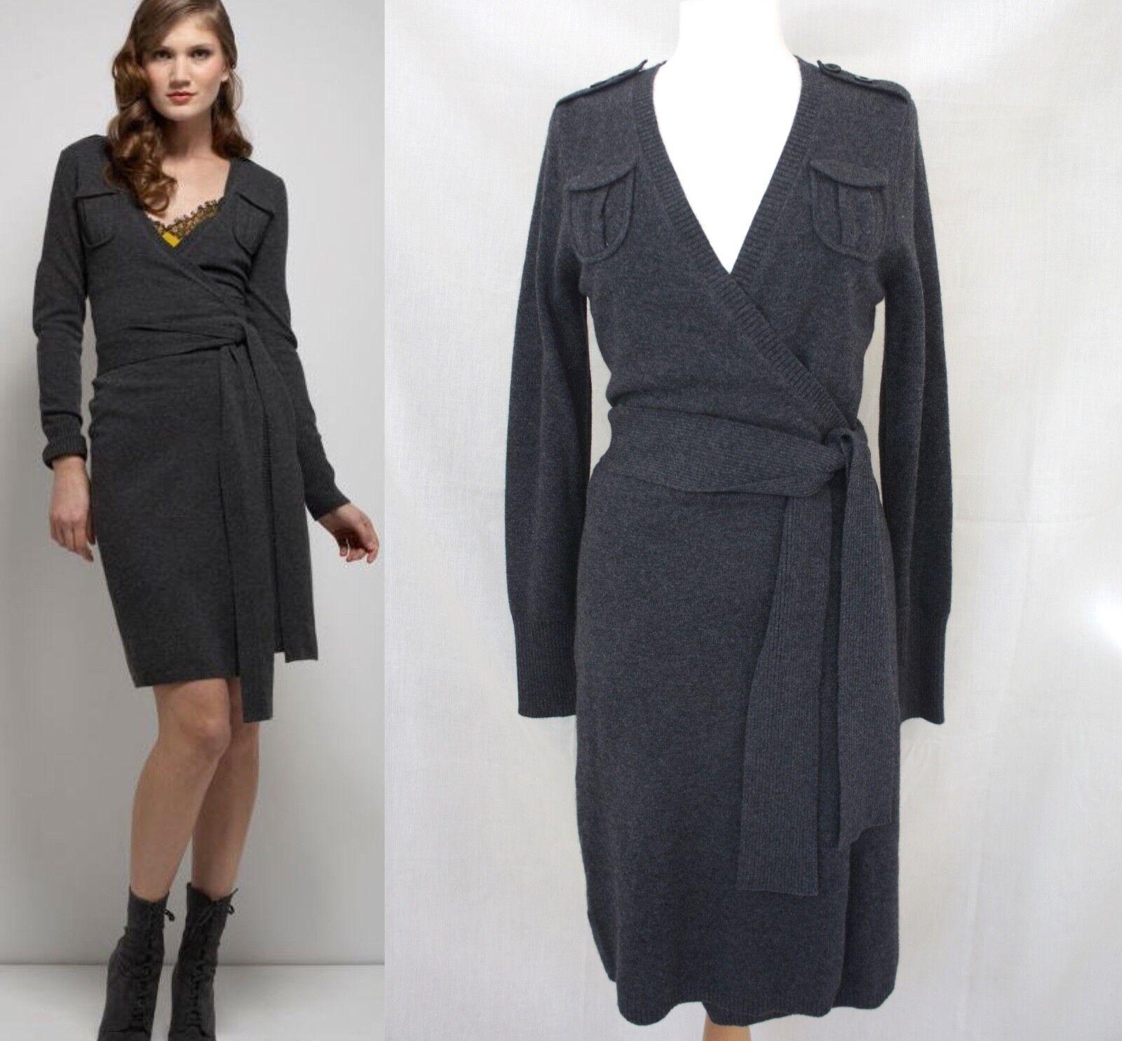 DVF Diane von Furstenberg GRODNICA Wool Cashmere Wrap Dress,Größe M   525