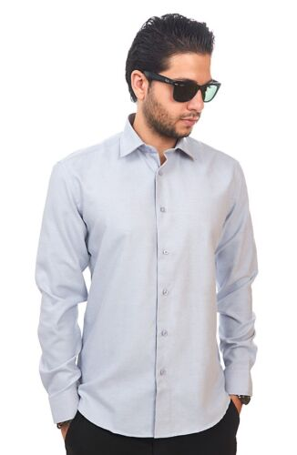 New Mens Dress Shirt Solid Silver Tailored Slim Fit Wrinkle Free Cotton AZAR MAN