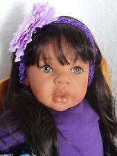 "Reborn 22"" ethnic/hispanic/biracial toddler girl doll ""Thalia-Pretty in Purple"""