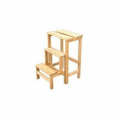 Sgabello ribaltabile 3 gradini in legno di faggio TOMAINO Scaletta