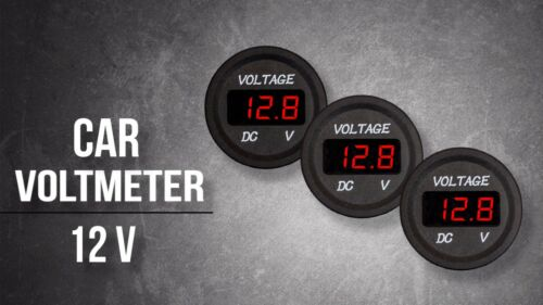 12V Mini Digital Voltmeter Red LED for Car Truck Motorcycle UTV
