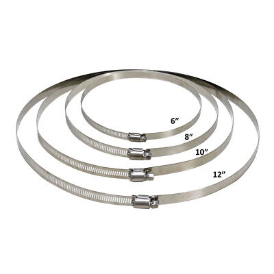 """VIVOSUN 6/"""" 8/"""" 10/"""" 12/"""" inch Stainless Steel Flexible Duct Hose Clamps for Ducting"""