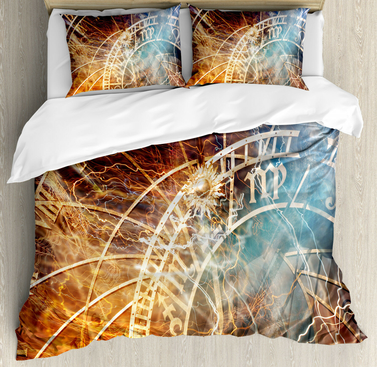 Astrology Duvet Cover Set with Pillow Shams Old Prague Hgoldscope Print