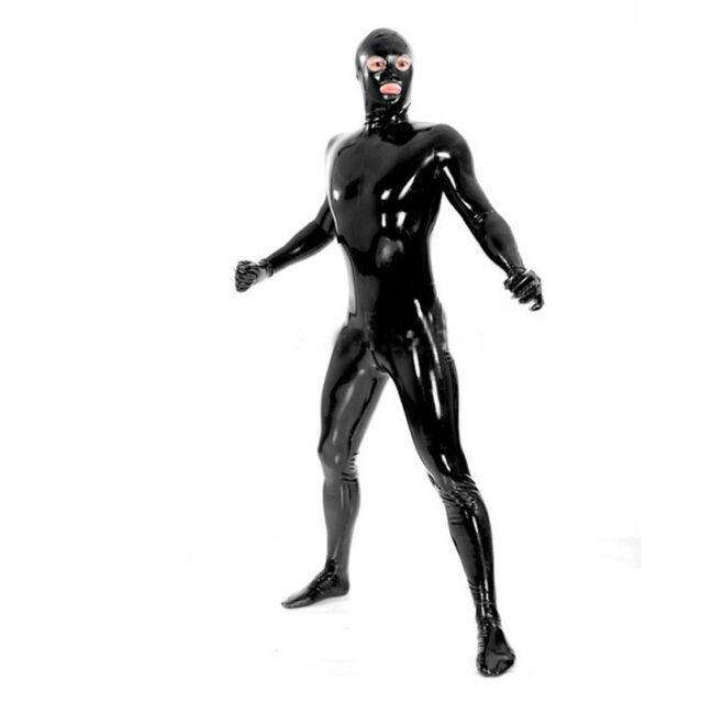 Latex Rubber Gummi Full Body Catsuit Men Open EYES NOST MOUTH