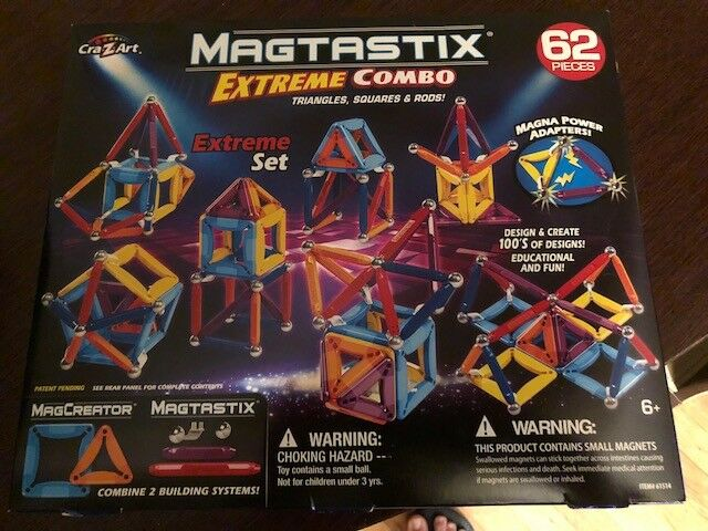 Cra-Z-Art Magtastix Extreme Combo Magnetic Construction Set 62 PIECES