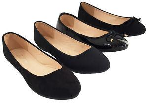 Neuf-pour-Femmes-Ballerines-Ecole-Noir-Chaussures-Plates-Pointure-UK
