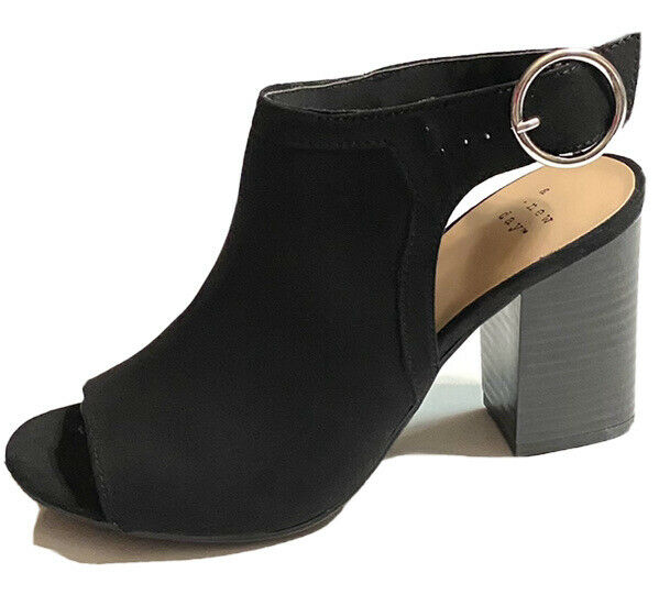 A New Day Womens Black Rhea Style Heeled Open Toe Sandals Shoes Size 6.5