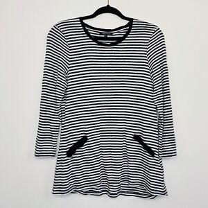 Marco-Polo-Womens-Top-Linen-Stripe-Black-White-Long-Sleeve-Size-S