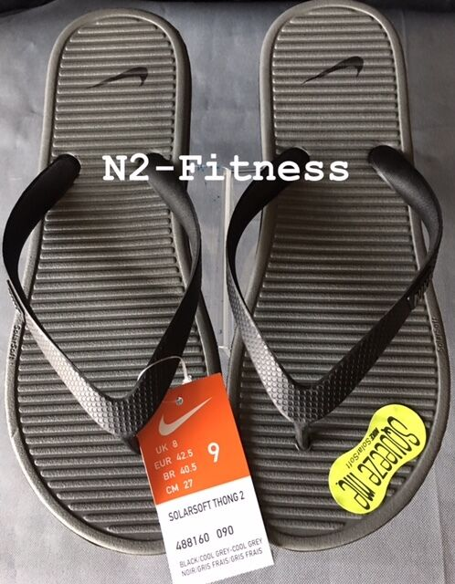 d7c769e73b262 Nike Men Flip Flops Sandal Solarsoft Thong 2 Footbed 9 Black Gray 488160  for sale online