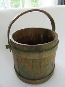 19TH-CENT-WOOD-FIRKIN-PANTRY-BOX-BUCKET-PRIMITIVE-COUNTRY-PAINTED-SHABBY-FARM
