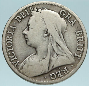 1895-UK-Great-Britain-United-Kingdom-QUEEN-VICTORIA-1-2-Crown-Silver-Coin-i83157