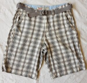American-Eagle-Outfitters-LONGBOARD-Homme-Plaid-GREY-SHORTS-avec-ceinture-Taille-W32-034