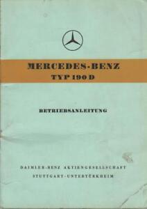 MERCEDES-190-D-Betriebsanleitung-1959-W121-Ponton-Handbuch-Bordbuch-BA
