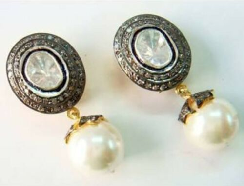 Details about  /Victorian Design Polki With Diamond 925 Solid Silver Pearl Wedding Gift Earring