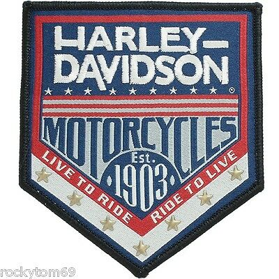 Harley-Davidson® H-D Republic Woven Label with Star Studs Small Patch. RETIRED!!