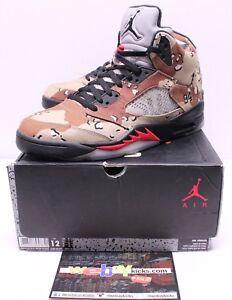 7b235bcbde77cd Air Jordan Retro 5 V Supreme Tan Beige Desert Camo Sneakers Men s ...