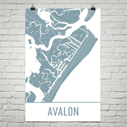 Avalon NJ Street Map Poster
