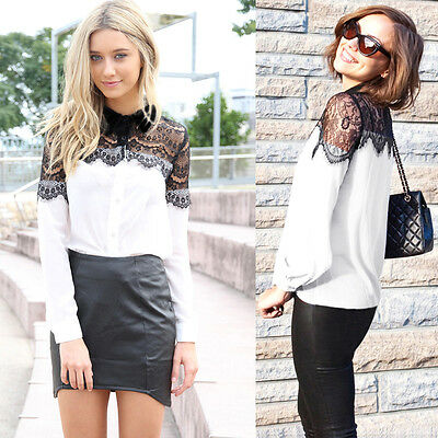 AU 12 - 20 Lace Sexy Chiffon Casual Long Sleeve Womens Shirt Blouse Tops