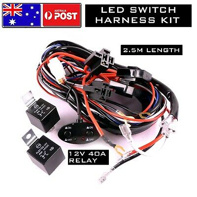 Double CONTROL LED LIGHT WIRING LOOM HARNESS RELAY FUSE SWITCH KIT 12V 40A BAR
