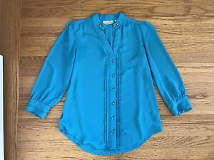 Anthropologie-Moulinette-Soeurs-teal-button-blouse-shirt-top-sz-4