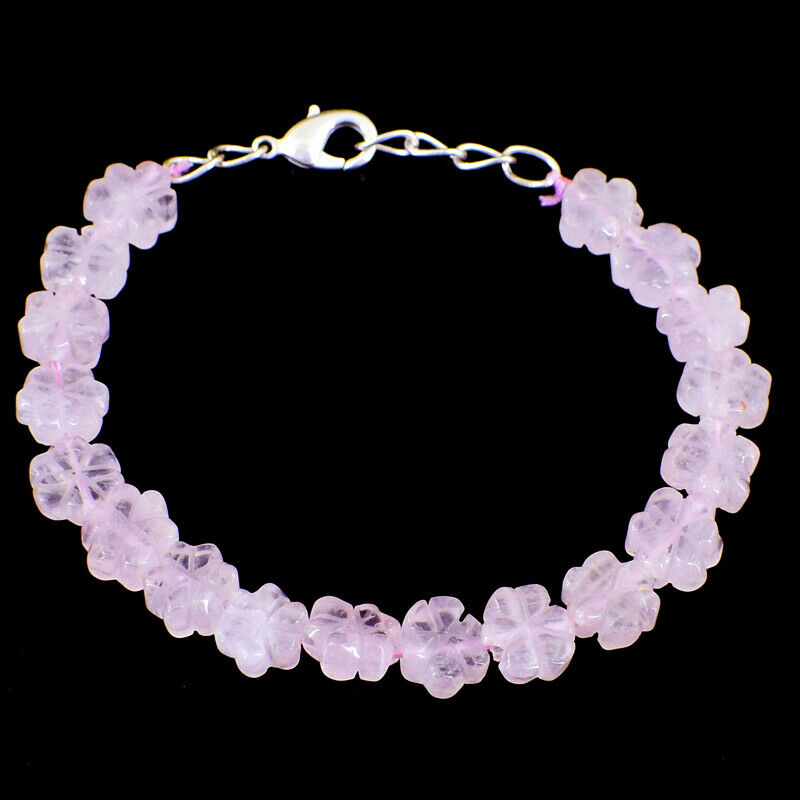 80.00 Cts Natural 7 Inches Long Pink pink Quartz Carved Beads Bracelet NK 56-E65