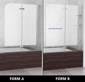 Badewannen 2 tlg faltwand aufsatz duschwand duschabtrennung dusche h he 140 cm ebay - Faltwand dusche ...