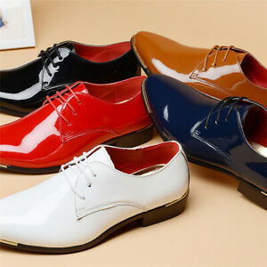 US-Men-039-s-Business-Pointed-Toe-Shinny-Leather-Shoes-Lace-up-Formal-Dress-Oxfords