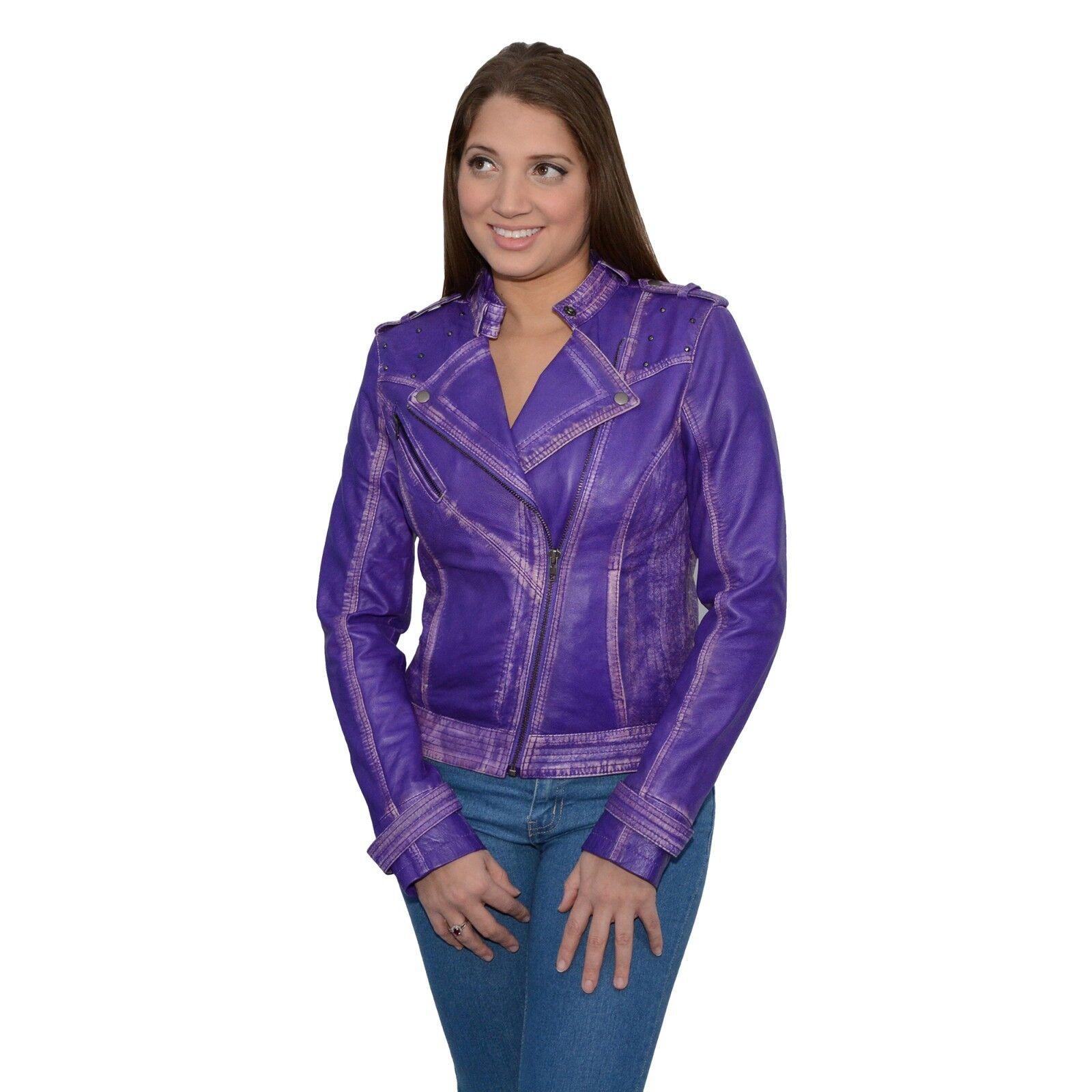 Mujer Chaqueta De Piel De  Cordero Moto asimétrico con tachonando-SFL2840-Púrpura  tienda en linea