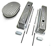 Sbc 350 Chevy Tall Polished Aluminum Finned Valve Covers & 12 Air Cleaner Kit