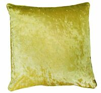 Gold Plain Crushed Velvet 18 inch Cushion Cover Piped Edges