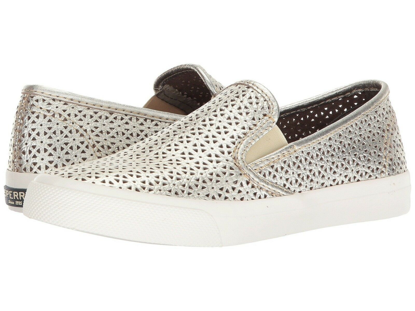 Sperry Seaside Nautical Perforated Platinum Leather Slip On Comfort Sneaker 8