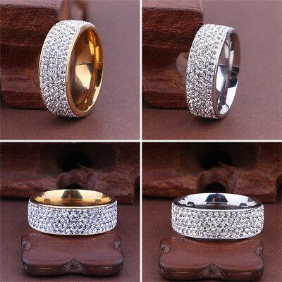 Sz8-12 Unisex CZ Stainless Steel Ring Men/Women's Wedding Band Rings Gold Silver