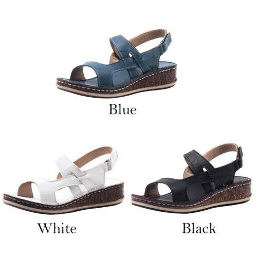 Women/'s Ankle Strap Flatform Wedges Shoes Espadrilles Summer Platform Sandals//