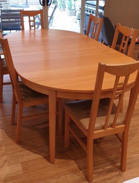 Adjustable Extendable Dining Table Set Ikea Bjursta 175 260cm Henriksdal Chairs For Sale Online Ebay