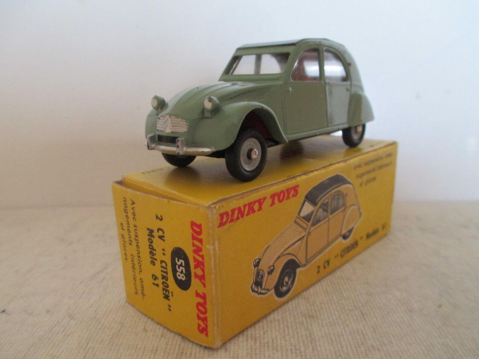 French dinky toys 558 citroen 2cv 1960 62 mib 9 in box very nice l @ @ k