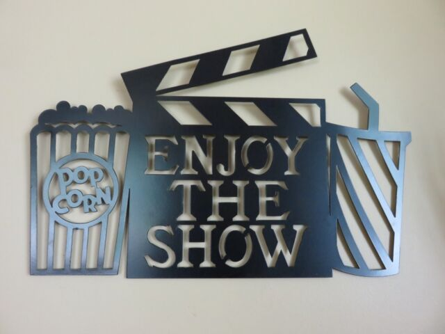 METAL MOVIE THEATER WALL ART ENJOY THE SHOW HOME THEATRE DECOR RETRO ...