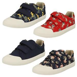 Garcons-Clarks-Singe-Imprime-Camouflage-Riptape-Baskets-Chaussures-en-Toile-Bd