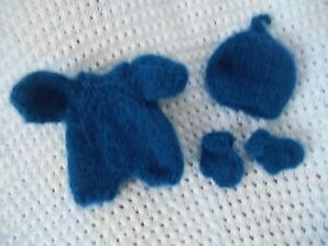 Doll Clothes Indigo Blue  Hand knitted romper set for baby Berenguer 8""