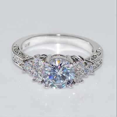 Brand Jewelry Womens Sapphire 18K White Gold Plated Filled Ring Size 6-9 TR